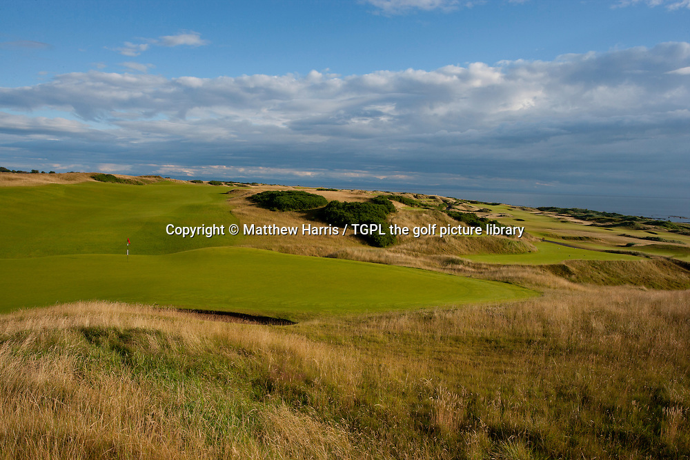 Left: 18th par 4,Right: 17th par 4 at Kingsbarns Golf Links during summer ,Kingsbarns,Fife,Scotland.