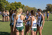 Nov 9, 2018; Sacramento, CA, USA; Members of the Cal Poly San Luis Obispo women's teams Abigail Fisk (67), Annie Meeder (71), Maddie McDonald (70), Katie Izzo (69) and Delaney Fitzsimmons (68) join hands in a huddle during the NCAA West Regional at Haggin Oaks Golf Course.