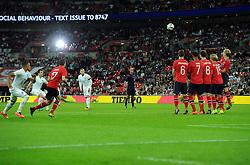 England's Leighton Baines (Everton) fires his free kick over  - Photo mandatory by-line: Joe Meredith/JMP - Mobile: 07966 386802 - 3/09/14 - SPORT - FOOTBALL - London - Wembley Stadium - England v Norway - International Friendly