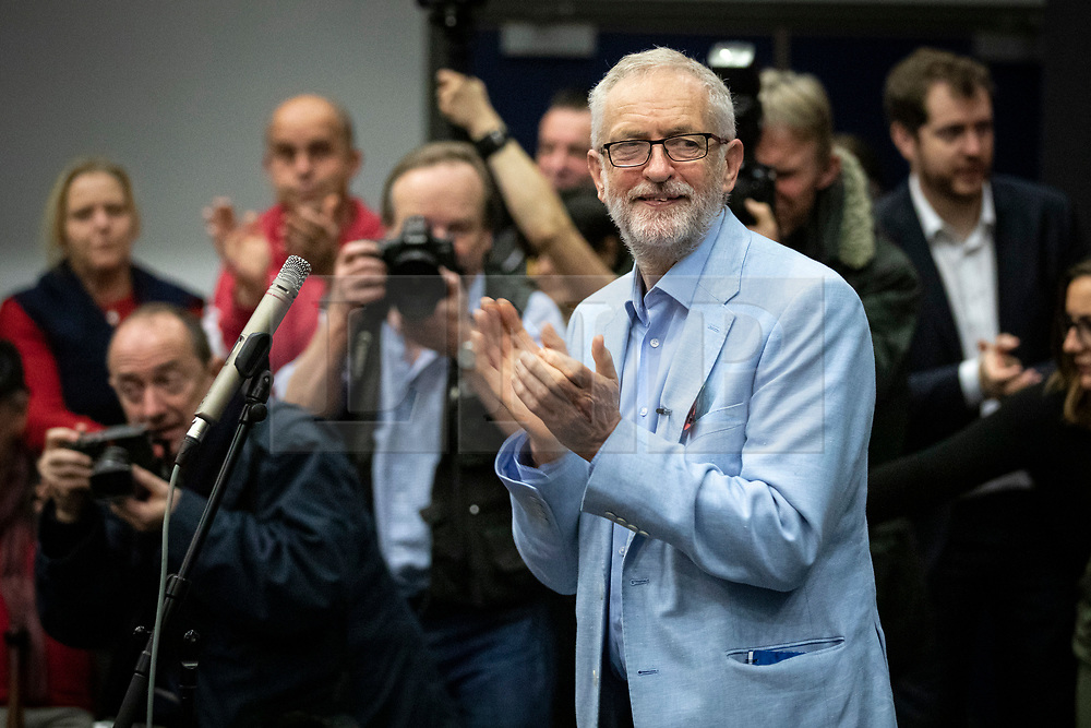 © Licensed to London News Pictures. 02/11/2019. Swindon, UK. Labour Party Leader Jeremy Corbyn at Commonweal Sixth Form College in Swindon during a campaign rally ahead of the general election on 12 December. Photo credit: Rob Pinney/LNP