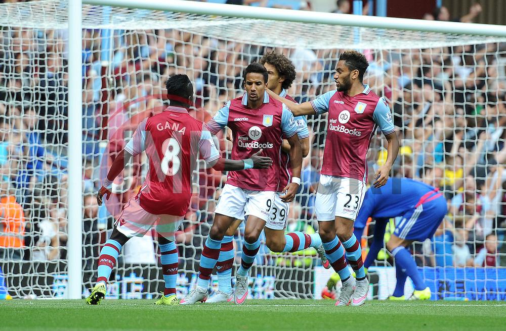 Scott Sinclair of Aston Villa celebrates scoring a penalty - Mandatory byline: Dougie Allward/JMP - 07966386802 - 29/08/2015 - FOOTBALL - Villa Park -Birmingham,England - Aston Villa v Sunderland - Barclays Premier League