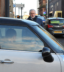Labour leader Jeremy Corbyn get's told the thoughts of a passing driver as he arrives for the Labour NEC meeting in Glasgow.<br /> <br /> © Dave Johnston/ EEm