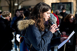 Refugee protesters reading stories about migrants and their hard life in home countries at Parliament of Slovenia organised by Amnesty International, on January 20, 2017 in Trg republike, Ljubljana, Slovenia. Photo by Vid Ponikvar / Sportida