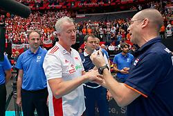15-09-2019 NED: EC Volleyball 2019 Netherlands - Poland, Rotterdam<br /> First round group D - Poland win 3-0 / Coach Vital Heynen of Poland, Coach Roberto Piazza of Netherlands