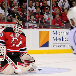 June 2, 2012: New Jersey Devils goalie Martin Brodeur (30) makes a save during second period action in game 2 of the NHL Stanley Cup Final between the New Jersey Devils and the Los Angeles Kings at the Prudential Center in Newark, N.J.