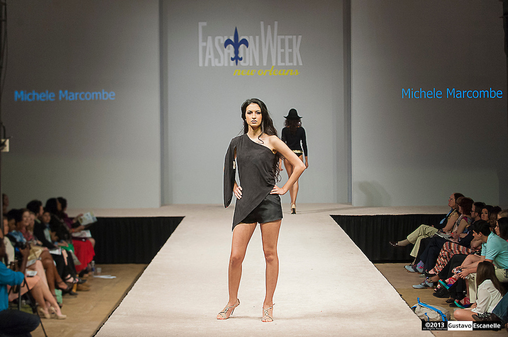 Michele Marcombe of NOLA Bikinis showing their collection at Fashion Week New Orleans.