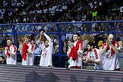 Esultanza panchina Armani Milano, RED OCTOBER MIA CANTU' vs EA7 EMPORIO ARMANI OLIMPIA MILANO, Lega Basket Serie A 2017/2018, 26 giornata, PalaDesio 15 aprile 2018 foto:BERTANI/Ciamillo