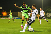 Forest Green Rovers Keanu Marsh-Brown (7) clashes with Eastleigh's Mike Green(3) during the Vanarama National League match between Forest Green Rovers and Eastleigh at the New Lawn, Forest Green, United Kingdom on 13 September 2016. Photo by Shane Healey.