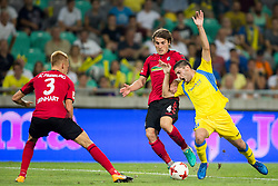 Caglar Soyuncu of SC Freiburg and Matija Sirok  of NK Domzale during 2nd Leg football match between NK Domzale and FC Freiburg in 3rd Qualifying Round of UEFA Europa League 2017/18, on August 3rd, 2017 in SRC Stozice, Ljubljana, Slovenia. Photo by Urban Urbanc / Sportida