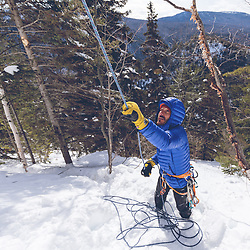 Jeff Mercier pulling the ropes at the base of Indiana Thivierge, WI6. The third repeat in 25 years, Les Palisades Charlevoix in Quebec, Canada