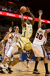 Georgia Tech forward Zach Peacock (35) passes over Virginia forward Adrian Joseph (30).  The Virginia Cavaliers men's basketball team fell to the Georgia Tech Yellow Jackets 92-82 in overtime at the John Paul Jones Arena in Charlottesville, VA on January 27, 2008.