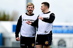 Gareth Steenson and Joe Simmonds during a training session at Sandy Park prior to their trip to La Rochelle in the European Rugby Champions Cup.  - Ryan Hiscott/JMP - 13/11/2019 - SPORT - Sandy Park - Exeter, England - Exeter Chiefs Training Session