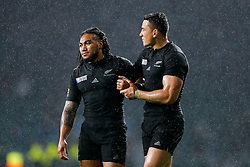 New Zealand Inside Centre Ma'a Nonu and replacement Sonny Bill Williams celebrate after New Zealand wn the game 18-20 - Mandatory byline: Rogan Thomson/JMP - 07966 386802 - 24/10/2015 - RUGBY UNION - Twickenham Stadium - London, England - South Africa v Wales - Rugby World Cup 2015 Semi Finals.