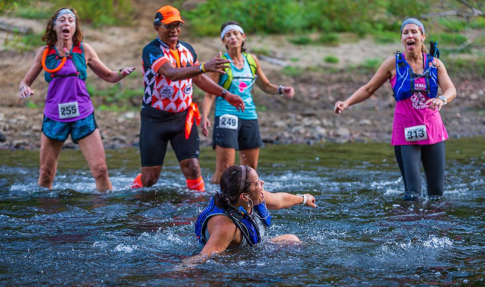 Patapsco Trail Festival Marathon and Half Marathon river crossing.