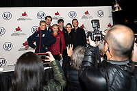 KELOWNA, BC - OCTOBER 26: Ice dance medalists pose for photographers during a press conference at Prospera Place on October 25, 2019 in Kelowna, Canada. (Photo by Marissa Baecker/Shoot the Breeze)