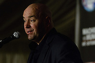 """MANCHESTER, ENGLAND, NOVEMBER 26, 2013: Dana White is pictured at the post-fight press conference for """"UFC Fight Night 30: Machida vs. Munoz"""" inside Phones4U Arena in Manchester, England (© Martin McNeil)"""