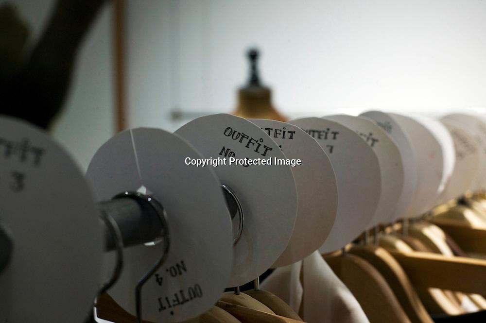 BEIJING , APRIL 19 :  die Outfits fuer die Show 2012 haengen im Atelier.