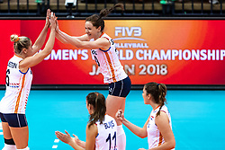 16-10-2018 JPN: World Championship Volleyball Women day 17, Nagoya<br /> Netherlands - China 1-3 / Maret Balkestein-Grothues #6 of Netherlands, Lonneke Sloetjes #10 of Netherlands