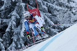 KITZBUHEL AUSTRIA. 22-01-2011. Tobias Gruenenfelder (SUI) speeds down the course competing in the 71st Hahnenkamm downhill race part of  Audi FIS World Cup races in Kitzbuhel Austria.  Mandatory credit: Mitchell Gunn