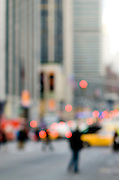 Abstract urban street scene with traffic and people, Avenue of the Americas, Manhattan, New York City.