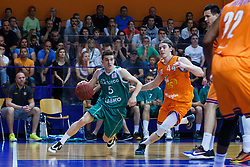 Nejc Baric of KK Zlatorog and Luka Voncina of KK Helios Suns during basketball match between KK Zlatorog and KK Helios Suns in 4th match of Nova KBM Slovenian Champions League Final 2015/16 on June 5, 2016 in Dvorana Komunalnega centra, Domzale, Slovenia Photo by Grega Valancic / Sportida