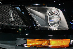 08 February 2007: 2007 Ford Mustang Shelby SVT Cobra Convertible front headlamp, insignia & turn lamp. The Chicago Auto Show is a charity event of the Chicago Automobile Trade Association (CATA) and is held annually at McCormick Place in Chicago Illinois.