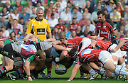 Twickenham, GREAT BRITAIN, Harlequins', scrum half, Steve SO'OIALO, puts the ball into the scrum, during the Guinness premiership match Harlequins vs Saracens  at The Stoop Stadium, Surrey on Sat. 19.09.2009.  [Photo. Peter Spurrier/Intersport-images]