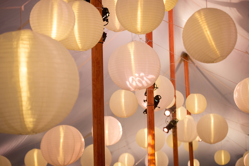 Paper lanterns in a tent in Baltimore, Maryland, USA