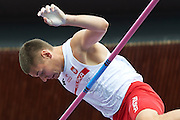 Pawel Wojciechowski from Poland competes in men's pole vault final during the Fifth Day of the European Athletics Championships Zurich 2014 at Letzigrund Stadium in Zurich, Switzerland.<br /> <br /> Switzerland, Zurich, August 16, 2014<br /> <br /> Picture also available in RAW (NEF) or TIFF format on special request.<br /> <br /> For editorial use only. Any commercial or promotional use requires permission.<br /> <br /> Photo by &copy; Adam Nurkiewicz / Mediasport