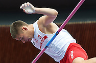 Pawel Wojciechowski from Poland competes in men's pole vault final during the Fifth Day of the European Athletics Championships Zurich 2014 at Letzigrund Stadium in Zurich, Switzerland.<br /> <br /> Switzerland, Zurich, August 16, 2014<br /> <br /> Picture also available in RAW (NEF) or TIFF format on special request.<br /> <br /> For editorial use only. Any commercial or promotional use requires permission.<br /> <br /> Photo by © Adam Nurkiewicz / Mediasport
