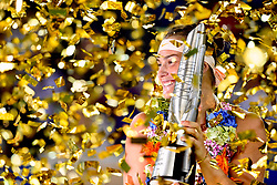 WUHAN, Sept. 29, 2018  Aryna Sabalenka of Belarus poses during the trophy ceremony after winning the singles final match against Anett Kontaveit of Estonia at the 2018 WTA Wuhan Open tennis tournament in Wuhan, central China's Hubei Province, on Sept. 29, 2018. Aryna Sabalenka won 2-0 and claimed the title. (Credit Image: © Jiang Kehong/Xinhua via ZUMA Wire)