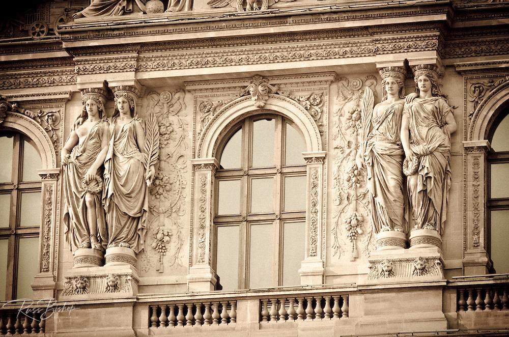 Statue detail at the Louvre Palace, Louvre Museum, Paris, France