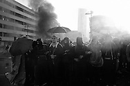 Germany, Frankfurt am Main :Riot police use water cannon during clashes with protesters on the opening day of the European Central Bank (ECB) in Frankfurt am Main, western Germany, on March 18, 2015 The Ecb inaugurated today its new headquarter.<br /> <br /> .