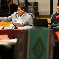 Speaker LoRenzo C. Bates speaks at the Navajo Nation Council meeting in Window Rock, Arizona on Thursday.