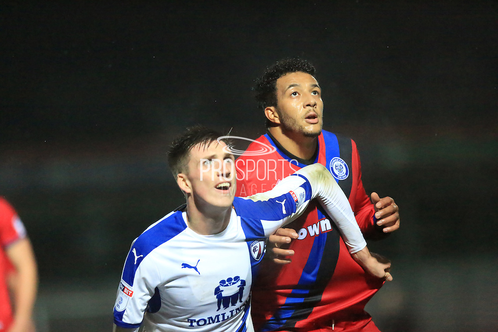 Dion Donohue, Nathaniel Mendez-Laing during the EFL Trophy match between Rochdale and Chesterfield at Spotland, Rochdale, England on 6 December 2016. Photo by Daniel Youngs.