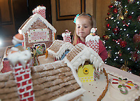 27/11/2014 Repro free The wonder of Christmas! <br /> Three Year old Elise O Brien took a peek at Hotel Meyrick&rsquo;s stunning creation of a traditional Gingerbread train station and set which is on display in the parlour lounge until Christmas Eve when it will be donated to the St Bernadette&rsquo;s children&rsquo;s ward at University College hospital Galway, www.hotelmeyrick.ie. <br />  . Photo:Andrew Downes