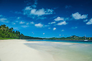 White sand beach and turquoise water at the Nanuya Lailai island, the blue lagoon, Yasawas, Fiji, South Pacific