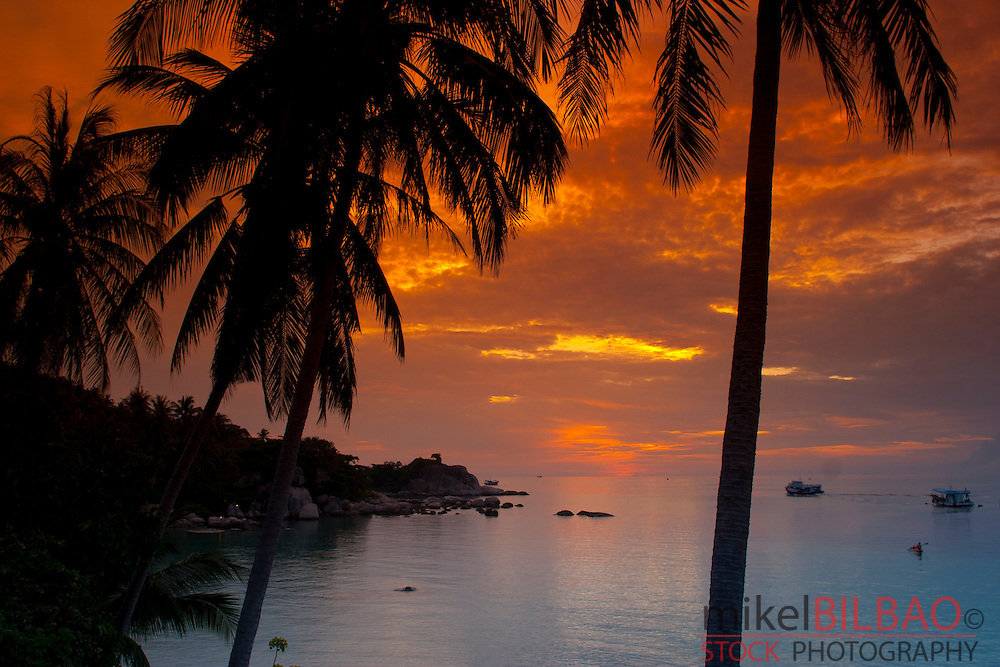 Maehaad beach at sunset.  Ko Tao island. Thailand.