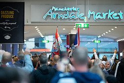 © Licensed to London News Pictures . 27/07/2019. Manchester, UK.  An unannounced demonstration in support of jailed former EDL leader Stephen Yaxley-Lennon (aka Tommy Robinson ) passes through the Arndale Centre in Manchester City centre . Up to 200 supporters chanted in support of Yaxley-Lennon as they marched past shoppers . Photo credit: Joel Goodman/LNP