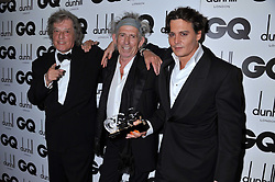 Left to right, SIR TOM STOPPARD, Winner of the Writer of the Year Award KEITH RICHARDS and JOHNNY DEPP at the GQ Men of the Year 2011 Awards dinner held at The Royal Opera House, Covent Garden, London on 6th September 2011.