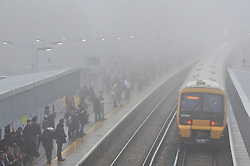 © Licensed to London News Pictures. 02/11/2015<br />  Misty and Foggy weather for commutors at Pettswood Train Station,Pettswood,Kent (02.11.2015). The fog is set to clear by midday.<br /> (Byline:Grant Falvey/LNP)