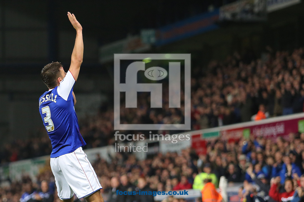 Picture by Richard Calver/Focus Images Ltd +447792 981244<br /> 17/09/2013<br /> Aaron Cresswell of Ipswich Town celebrates his winning goal against Yeovil Town during the Sky Bet Championship match at Portman Road, Ipswich.
