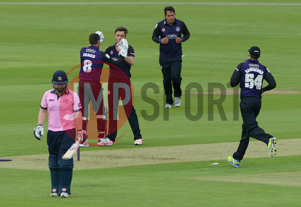 Matt Taylor of Gloucestershire celebrates getting the first wicket of the game with Geraint Jones of Gloucestershire - Photo mandatory by-line: Dougie Allward/JMP - Mobile: 07966 386802 - 15/05/2015 - SPORT - Cricket - Bristol - Bristol County Ground - Gloucestershire County Cricket v Middlesex County Cricket - NatWest T20 Blast