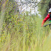 Andrew Whiteford riding through the grasses along Highway 22 heading towards the bottom of the Teton Pass in Wilson, Wyoming.