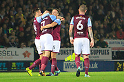 Aston Villa midfielder Robert Snodgrass (7) scores a goal to make the score 3-0 and celebrates during the EFL Sky Bet Championship match between Burton Albion and Aston Villa at the Pirelli Stadium, Burton upon Trent, England on 26 September 2017. Photo by Richard Holmes.