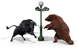 Bear and Bull stock market mascots charging each other on a white background with a New York street light between them