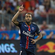Paris St. Germain's Lucas Moura celebrates a goal on a penalty kick against SL Benfica in the International Champions Cup in Toronto.