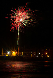 North Berwick, East Lothian, Scotland, United Kingdom, 05 November 2019. Guy Fawkes bonfire night fireworks light up the cold dark sky on a windy evening on the coast of the Firth of Forth. The fireworks are organised by East Lothian Yacht Club.<br /> Sally Anderson | EdinburghElitemedia.co.uk