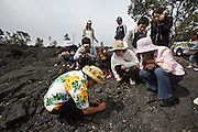 Big Island. Hawai'i Volcanoes National Park. Old lava flow. Japanese tourists.