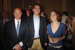 Left to right, SHOLTO DOUGLAS-HOME, MR NICK HOWARD son of Michael Howard and LARISSA PERSONS daughter of Michael Howard at a party to celebrate the publication of Sandra Howard's book 'Ursula's Stor' held at The British Academy, 10 Carlton House Terace, London on 4th September 2007.<br />